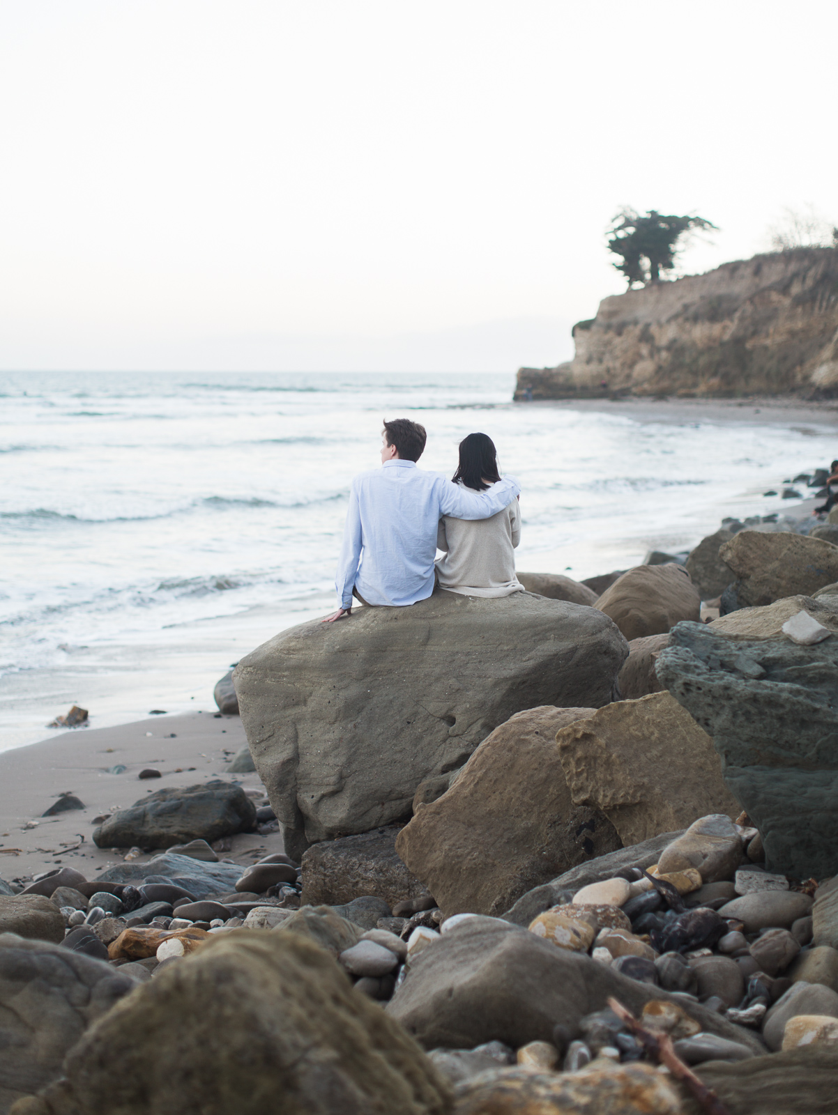Intimate Leadbetter beach engagement just after sunset