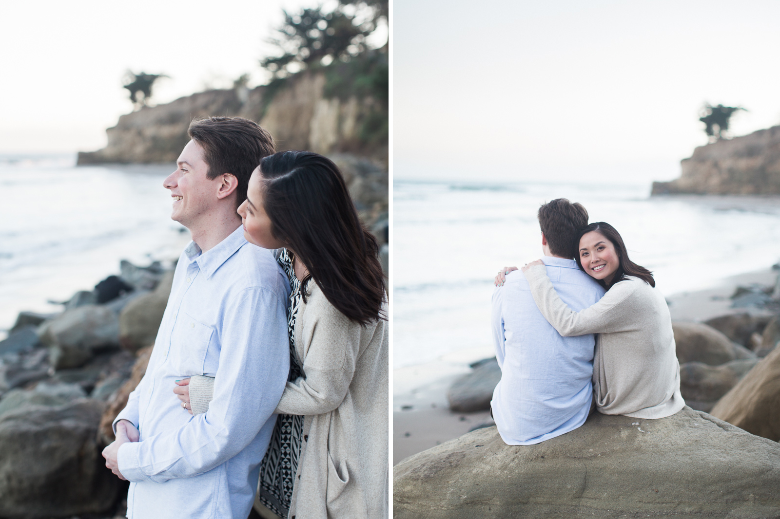 Loving Leadbetter beach engagement just after sunset