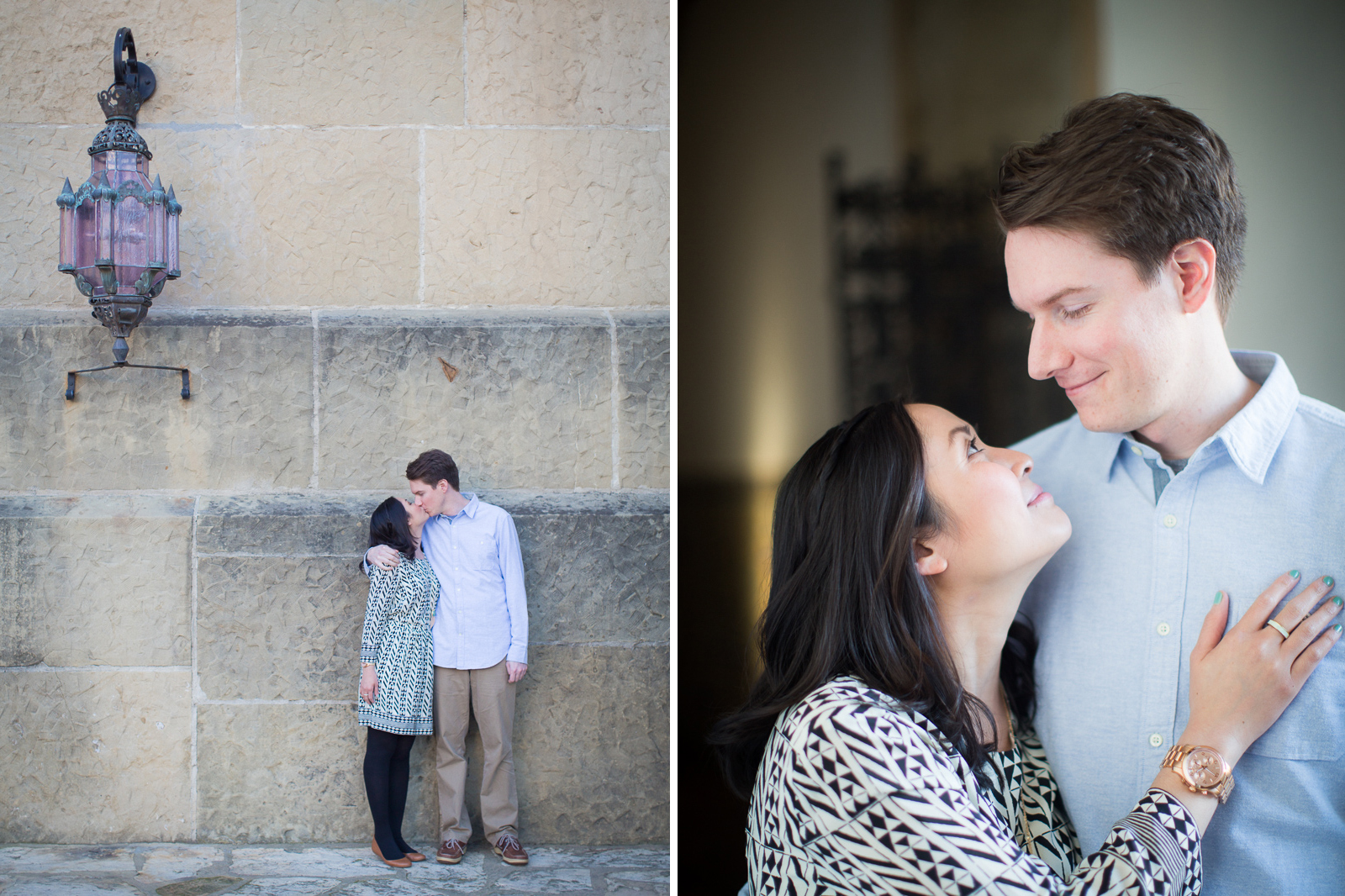 Engagement below the arch of the Santa Barbara courthouse.