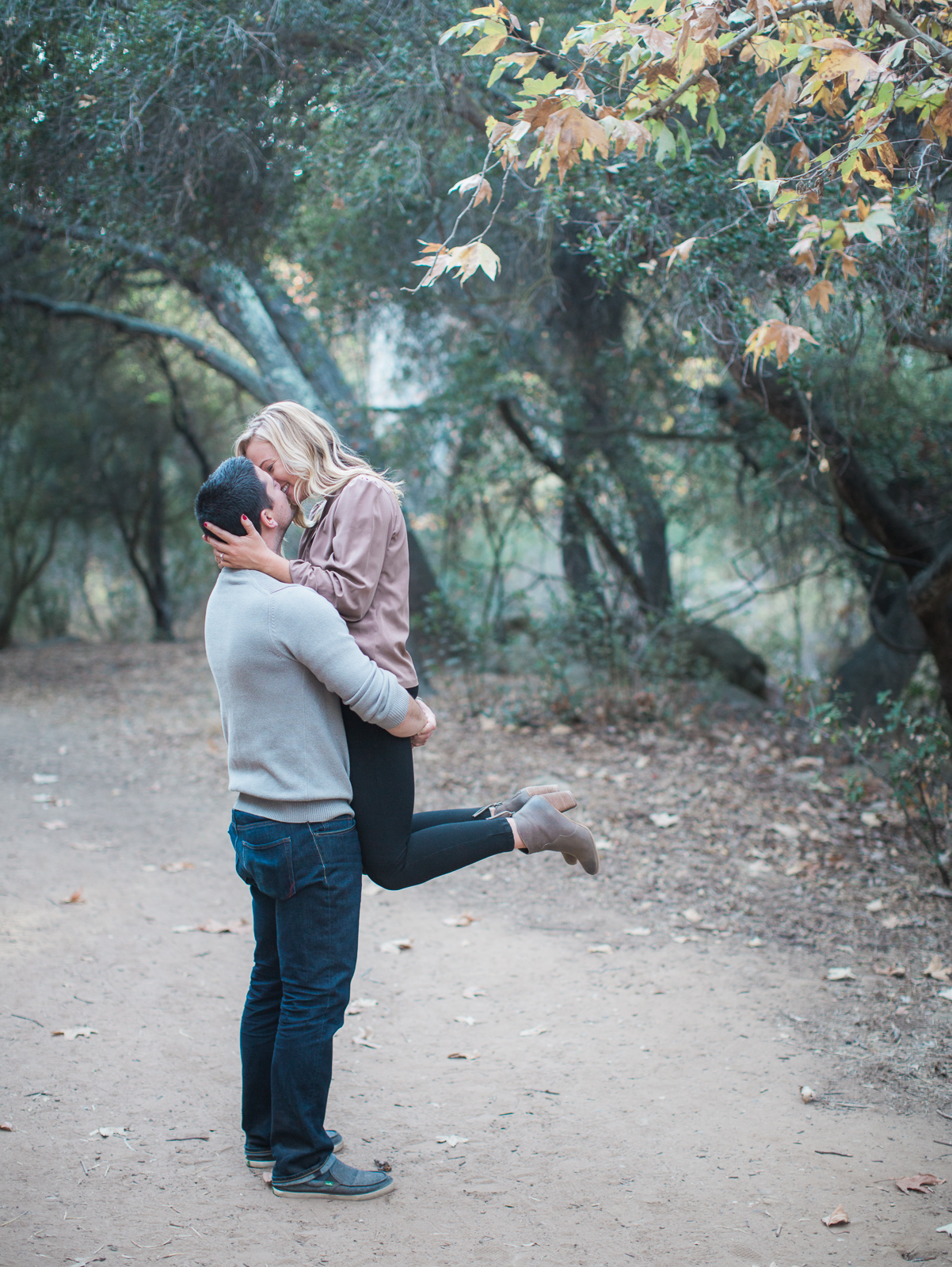 Couple during their Fall Stevens Park Engagement Session