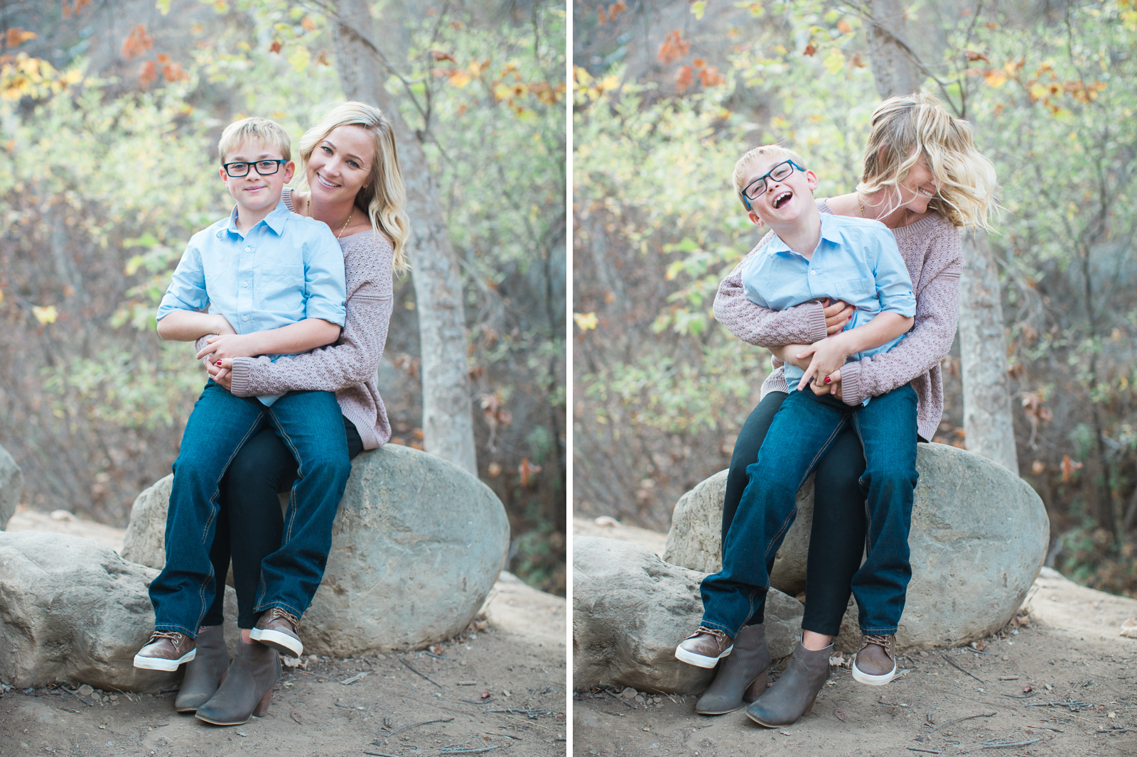 Mother and son during Fall santa barbara family engagement with in Steven's Park