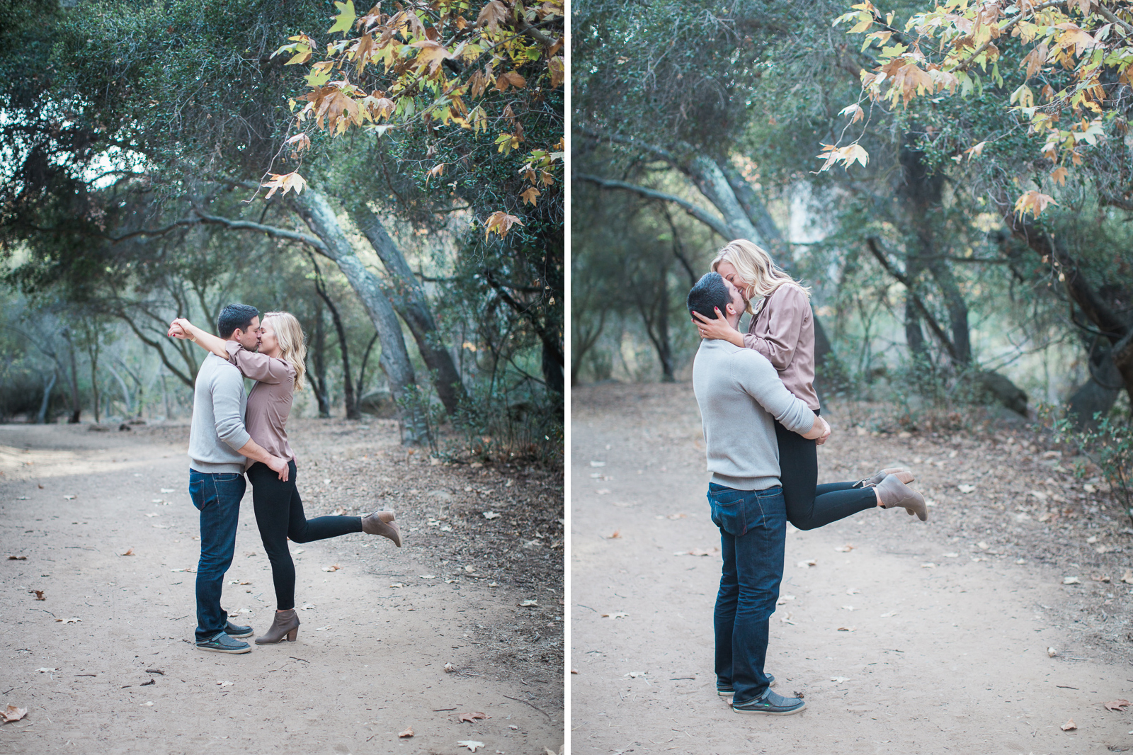 Couple during their Fall santa barbara family engagement