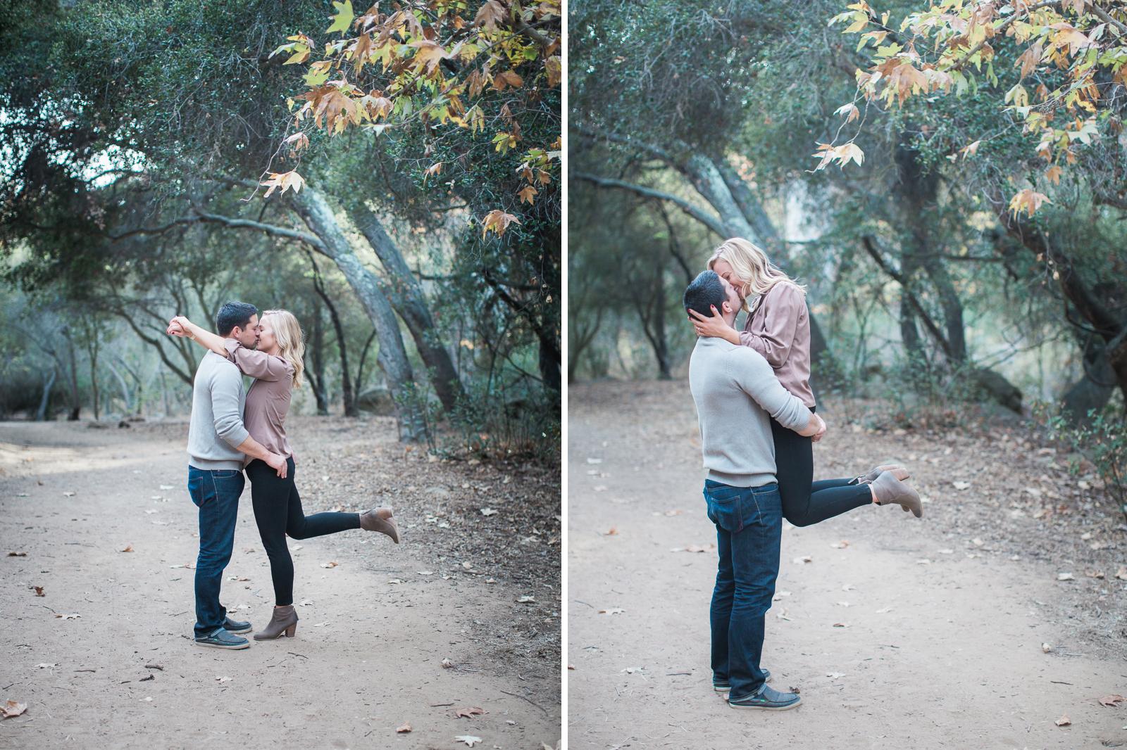 Couple during their Fall santa barbara family engagement