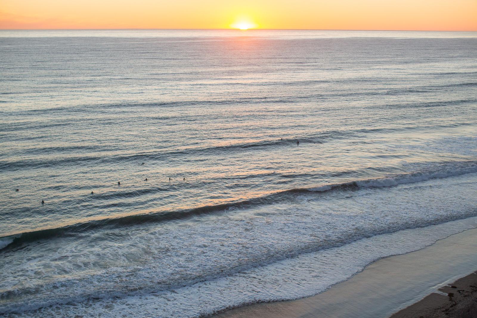 Santa Barbara proposal at sunset over hendry's beach