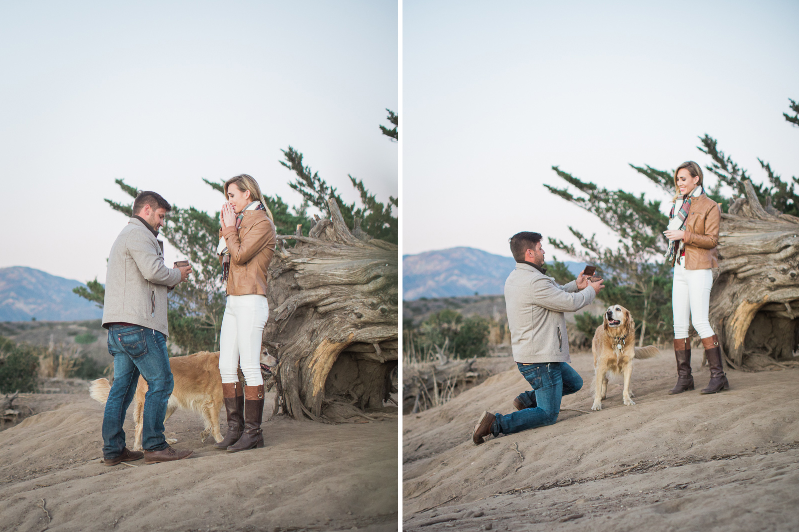 Santa Barbara Proposal to girlfriend down on one knee