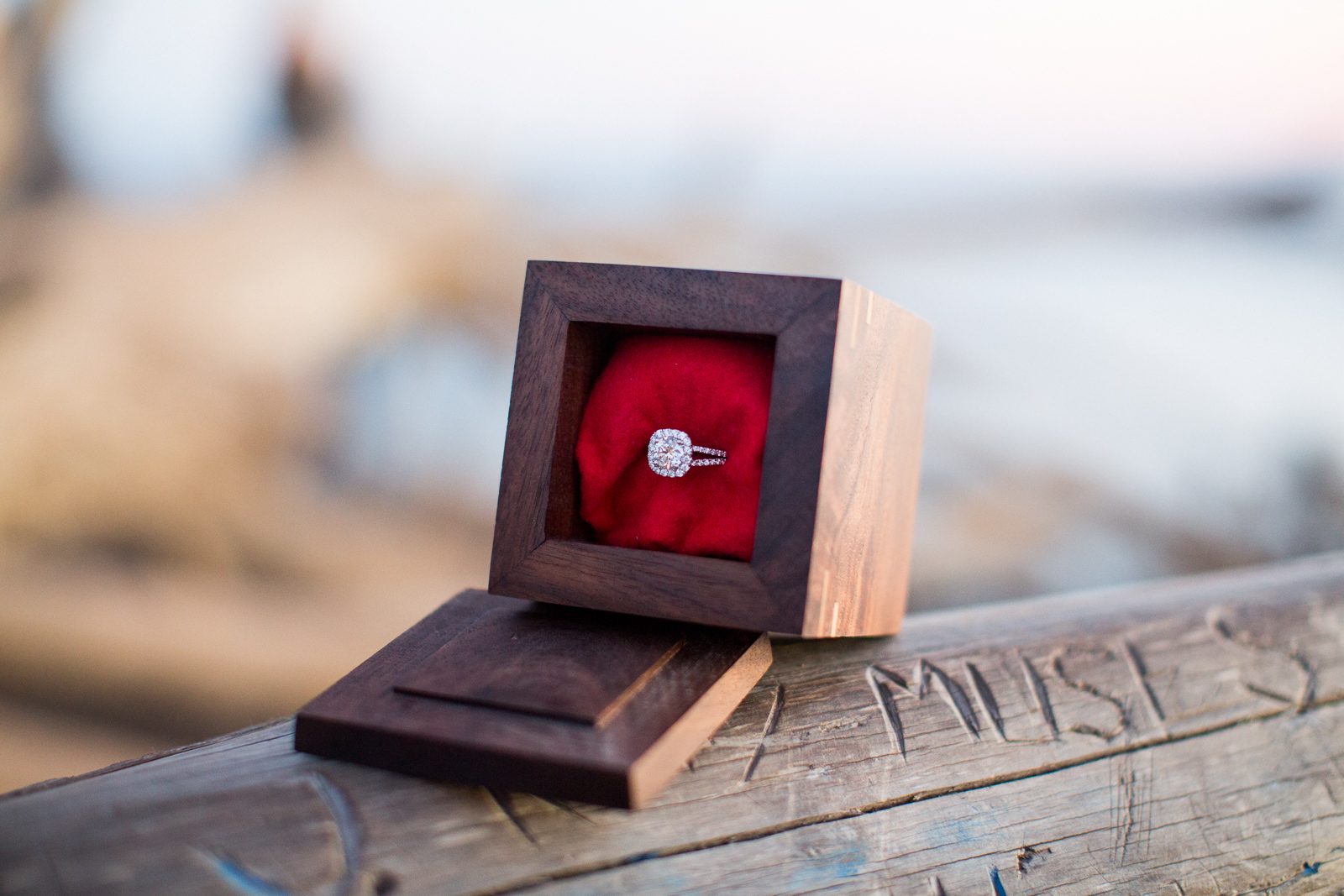 Engagement ring and custom wooden jewelry box made be groom to be