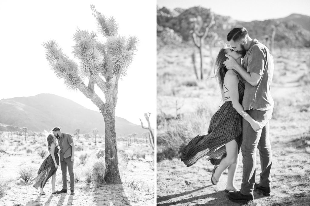 Simple love in black and white during a Joshua Tree engagement session