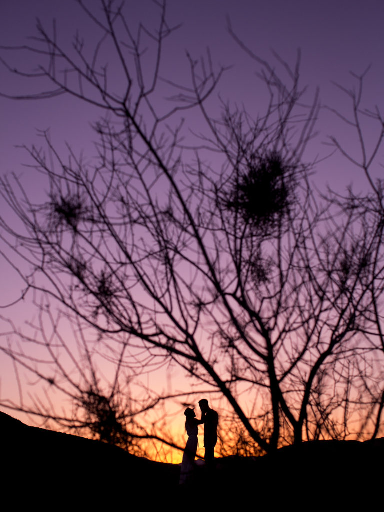 Sunset silhouette at a Joshua Tree engagement session