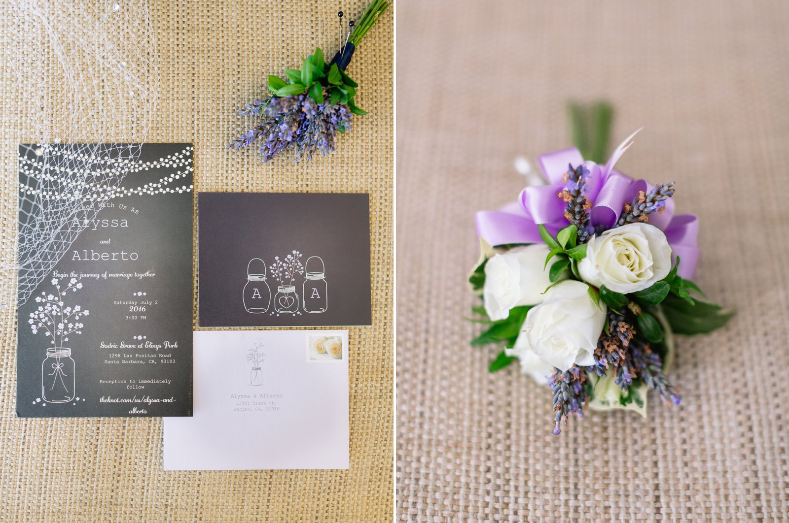 Ivory and lavender bridal elements for this Godric Grove Wedding.