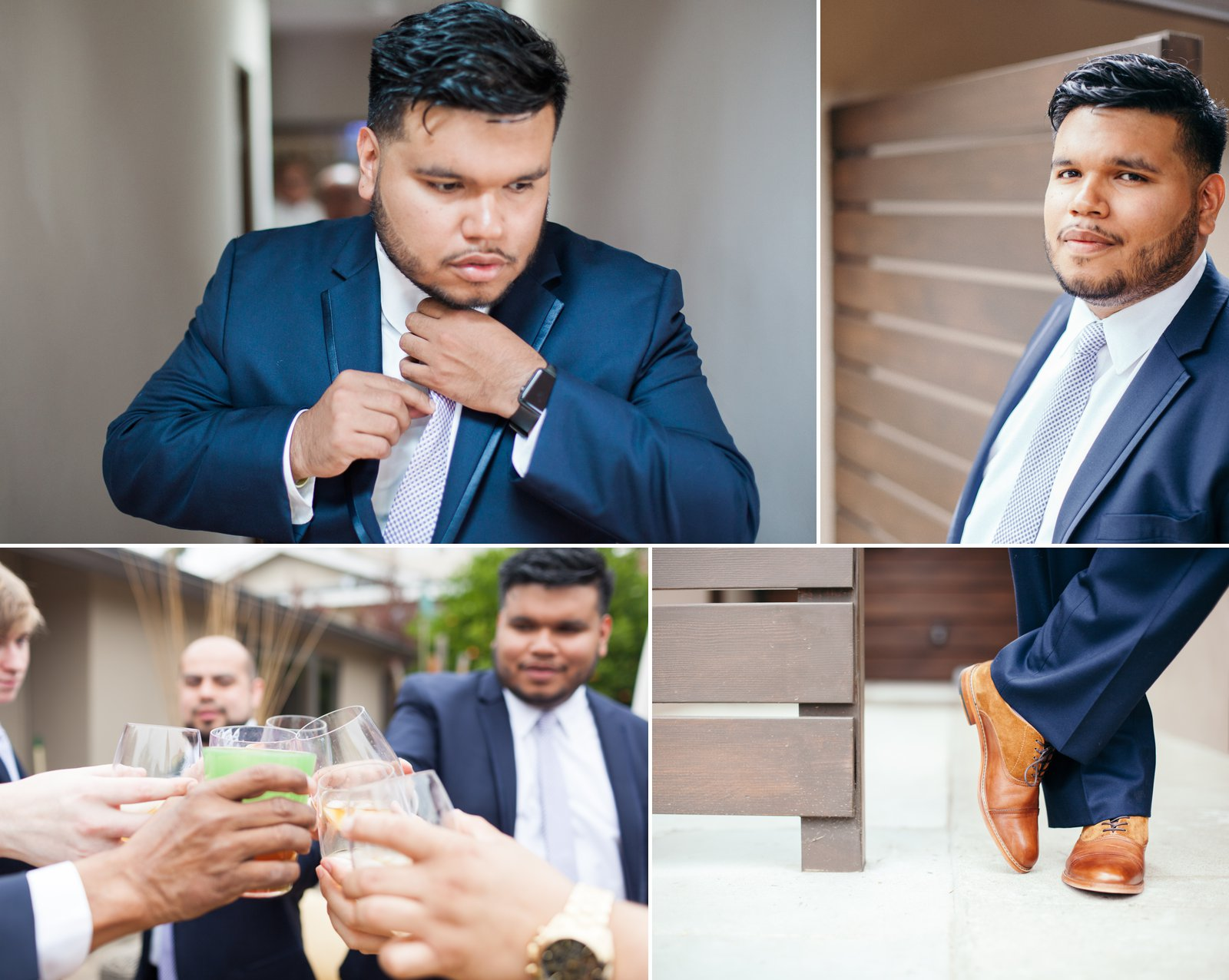 Goom prep and portraits before his wedding.