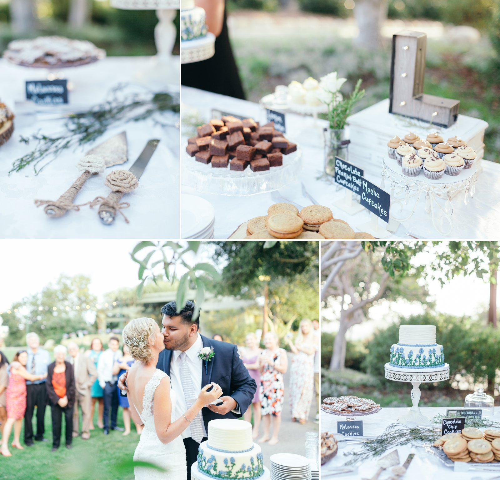 Bride and gooms cake cutting and desert design at Godric Grove Wedding.