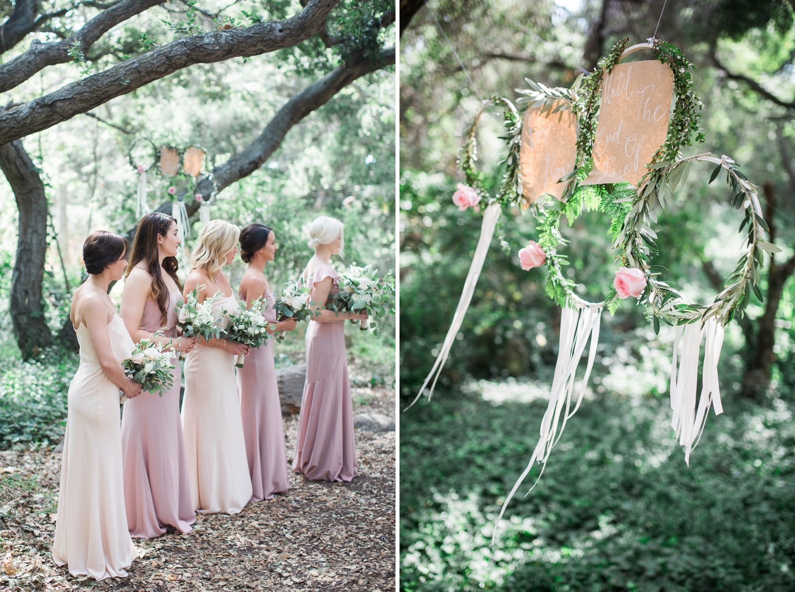 Gorgeous bridesmaids and dresses for this Santa Barbara museum of natural history wedding ceremony