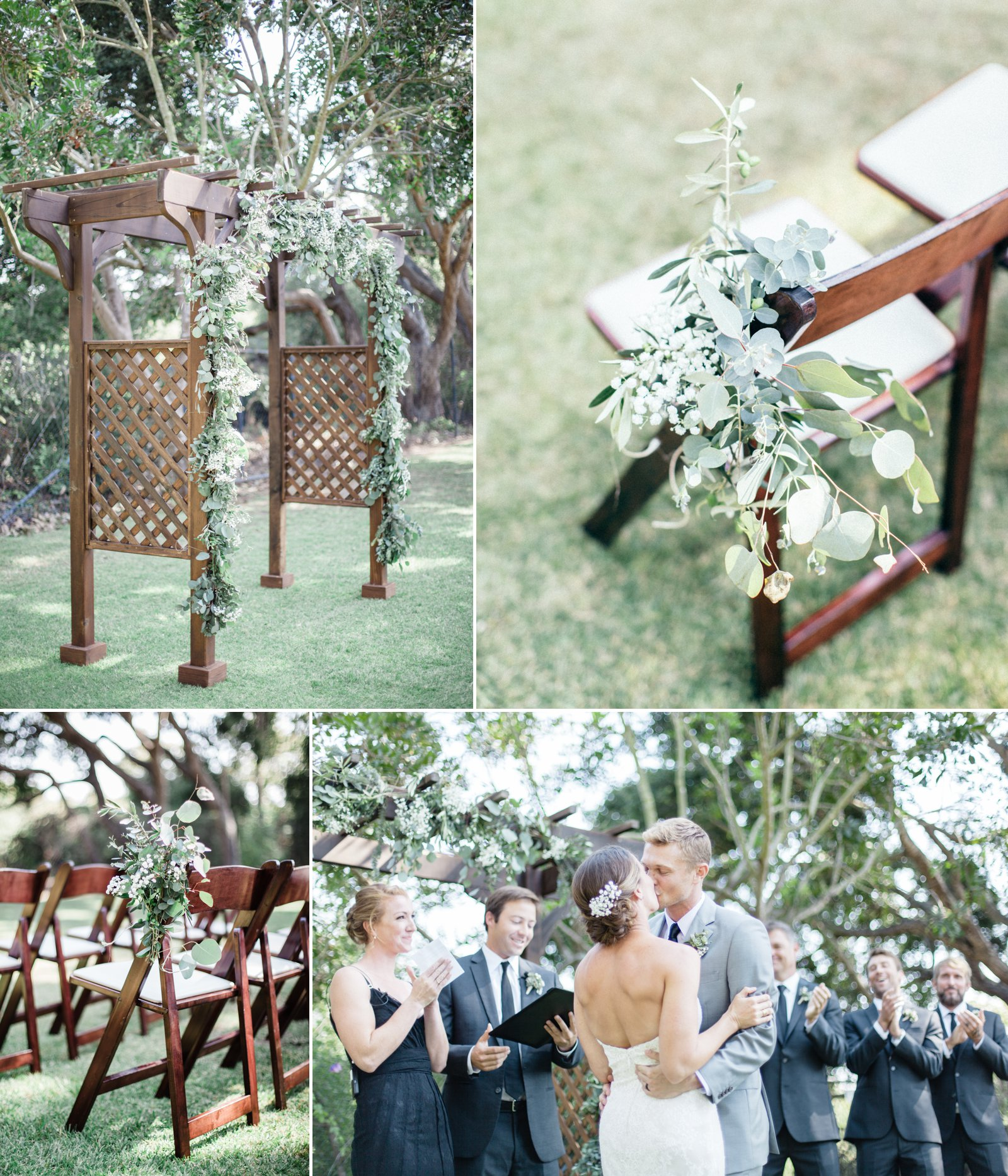 All natural, olive and babies breath decor elements at this outdoor Carpinteria wedding.