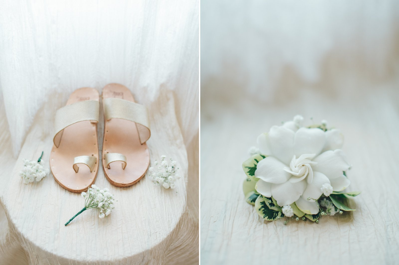 Simple, delicate, natural floral elements and bridal slippers.