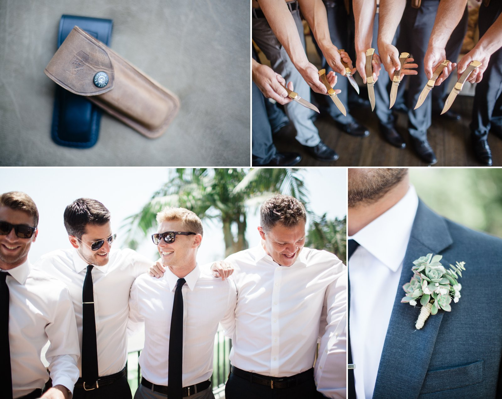 Groom gives Buck knives to his guys as their Groomsmen gifts.