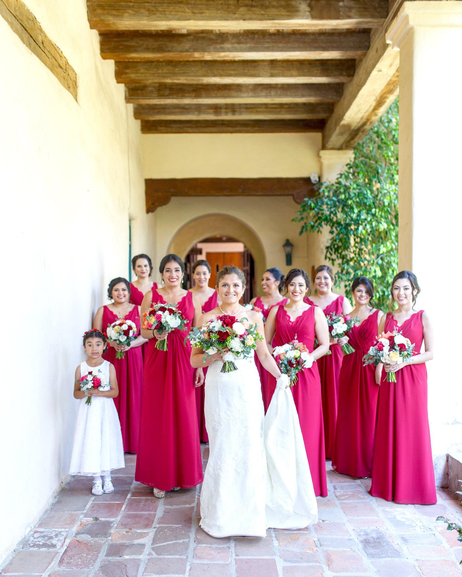 beautiful bridesmaids at the Santa Barbara Mission