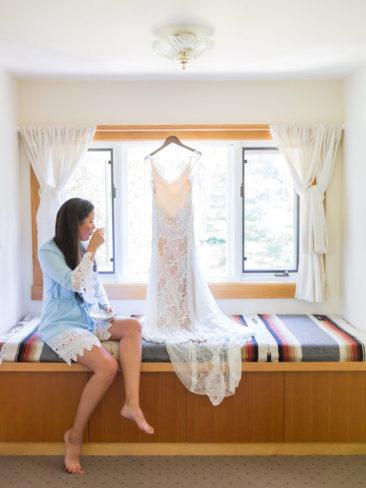 Garden Wedding in Port Townsend | Bride and her wedding gown