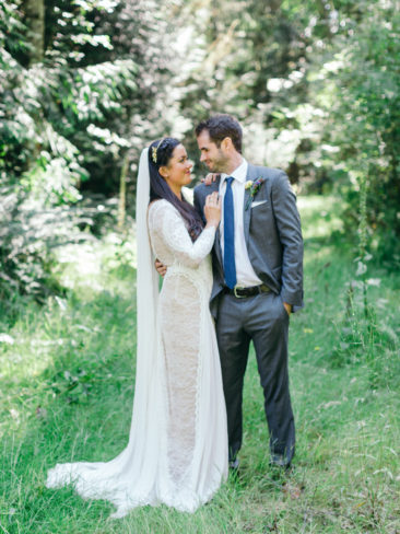Garden Wedding in Port Townsend | Bride and Groom in the rainforests of the Pacific Northwest