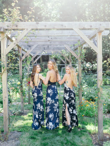 Garden Wedding in Port Townsend | Bridesmaids floral print dresses