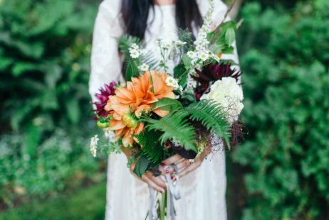 Garden Wedding in Port Townsend | Brides with gorgeous DIY Bouquet