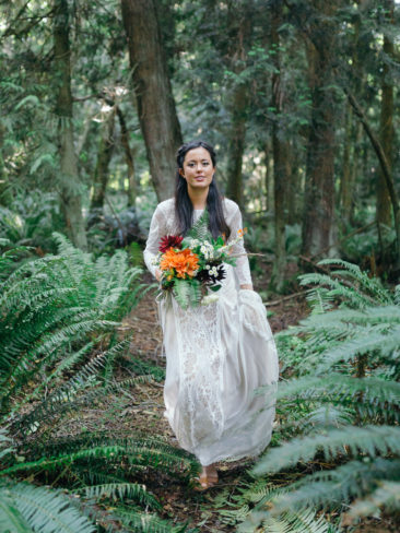 Garden Wedding in Port Townsend | Bride in the Pacific Northwest Rainforests