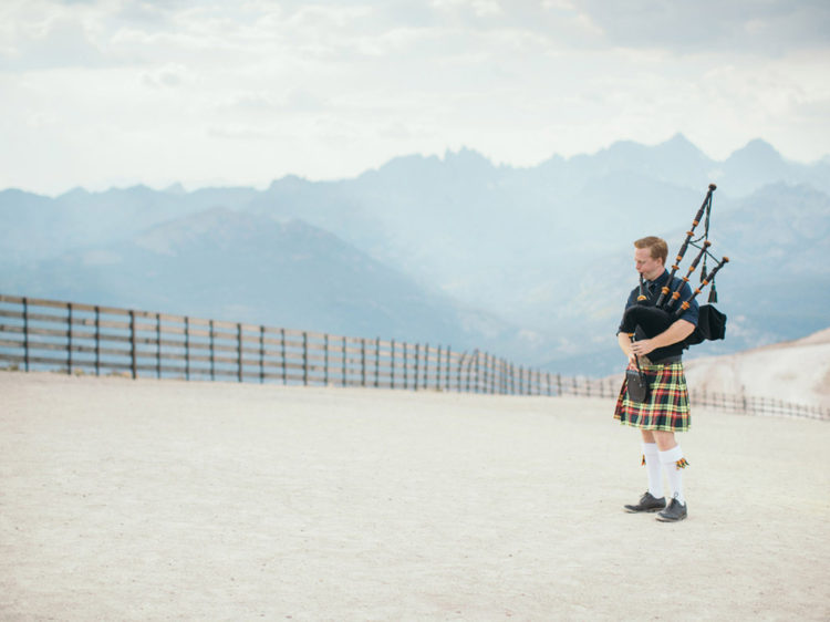 Mammoth Mountain Wedding | Bagpiper on the Summit