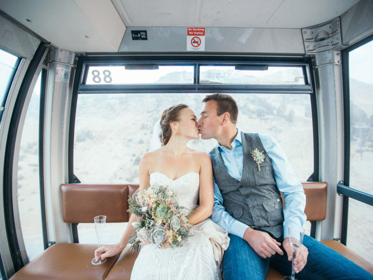 Mammoth Mountain Wedding | Bride and Groom in the Gondola