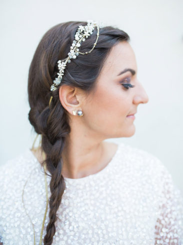 Santa Barbara Zoo Wedding | Bride hair and crown