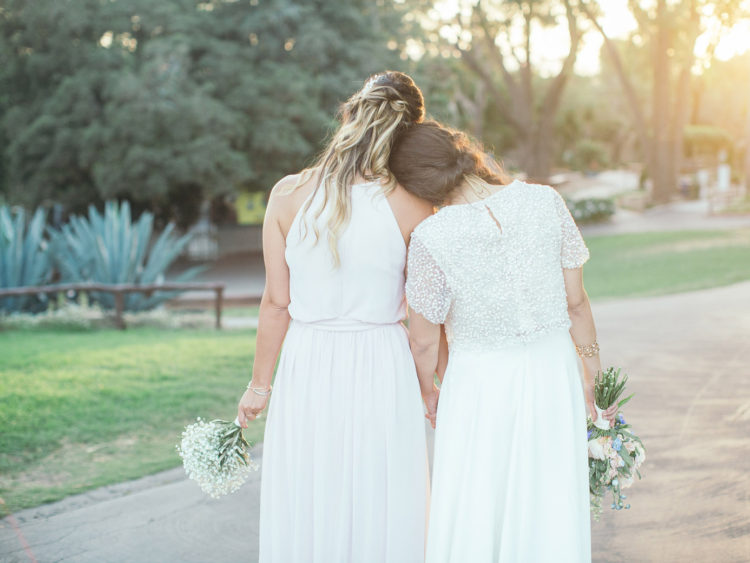 Santa Barbara Zoo Wedding | Bride and Maid of Honor at Sunset