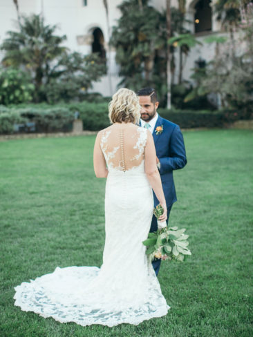 University Club Wedding | Bride and Groom at Santa Barbara County Courthouse
