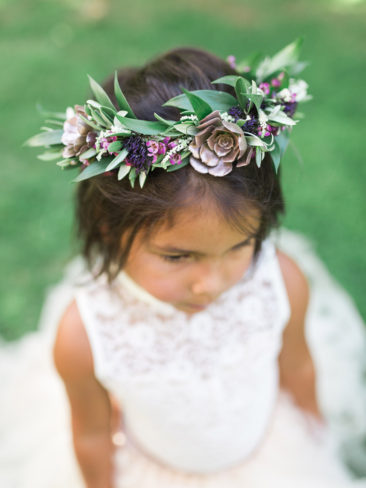 Murphys Ranch Wedding | Flower girl with flower crown