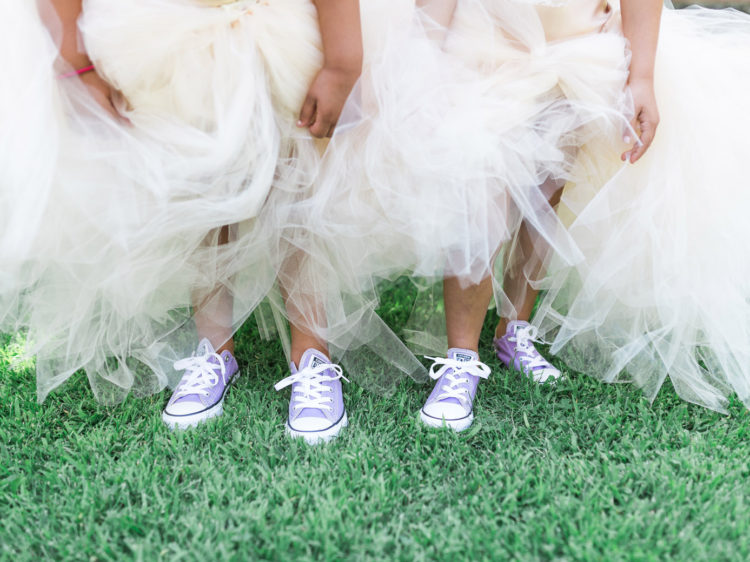 Murphys Ranch Wedding | Flower Girls with purple converse shoes