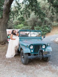 Murphys Ranch Wedding | Bride among Pine Trees with Willys Jeep