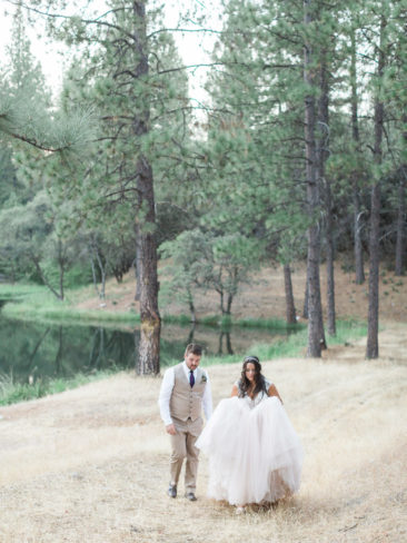 Murphys Ranch Wedding | Bride and Groom among the Pine Trees