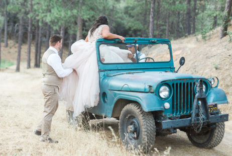 Murphys Ranch Wedding | Bride and Groom among Pine Trees with Willys Jeep